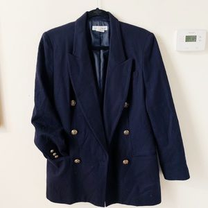 Vintage Navy Blue Double Breasted Nautical Blazer